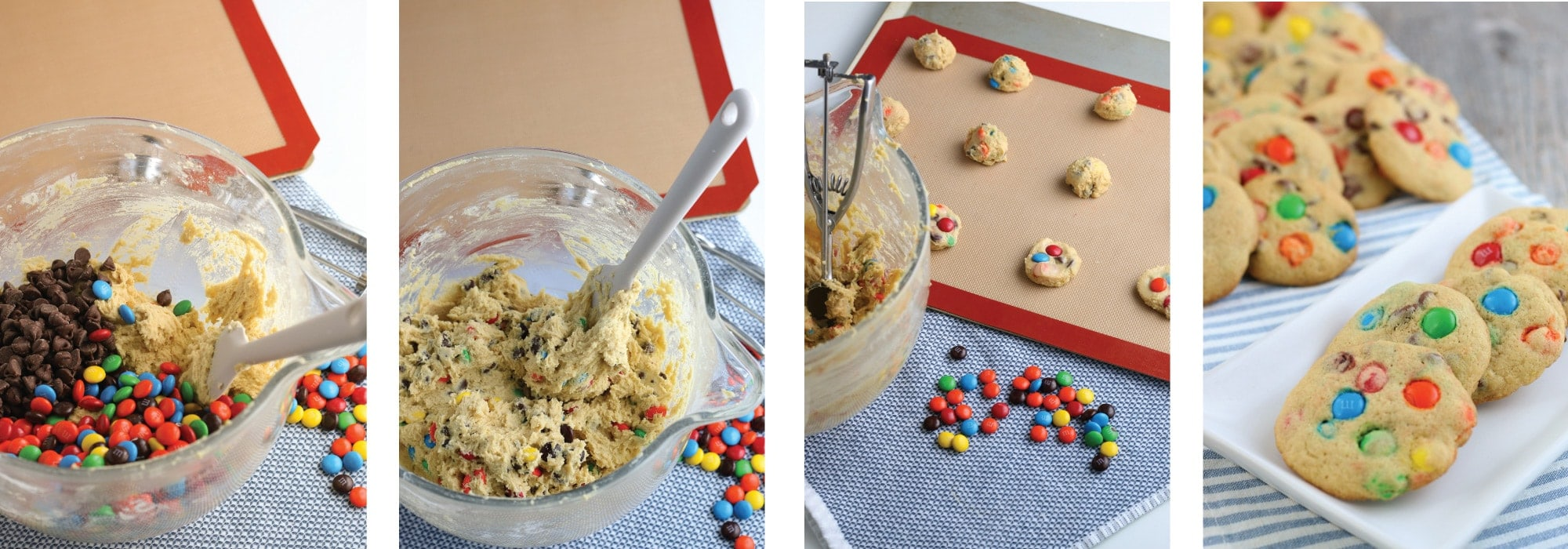 M&M Cookie dough on sheet pan
