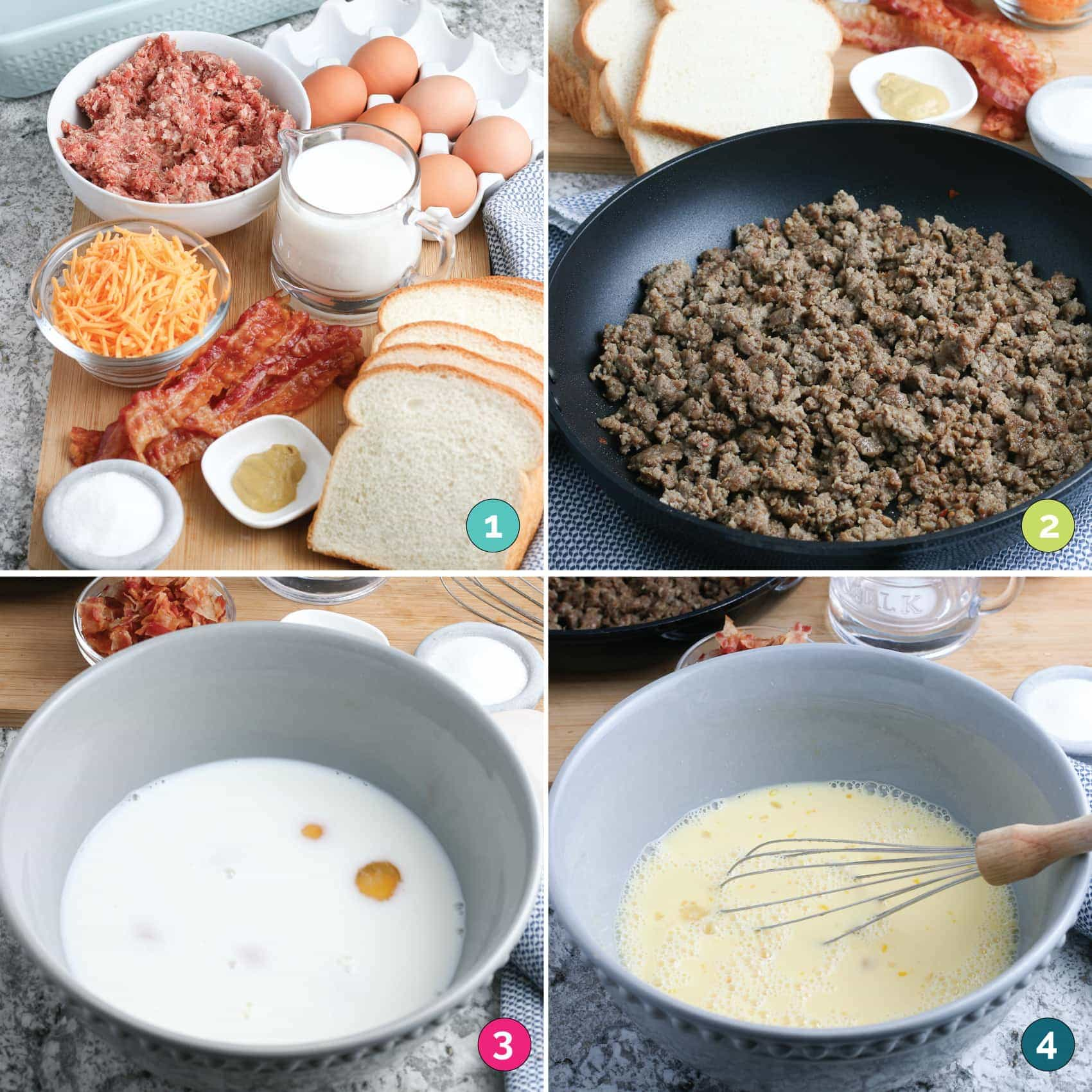 overnight breakfast casserole steps 1