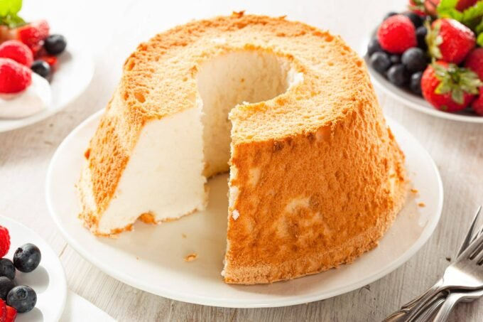 Angel Food Cake with slice cut out