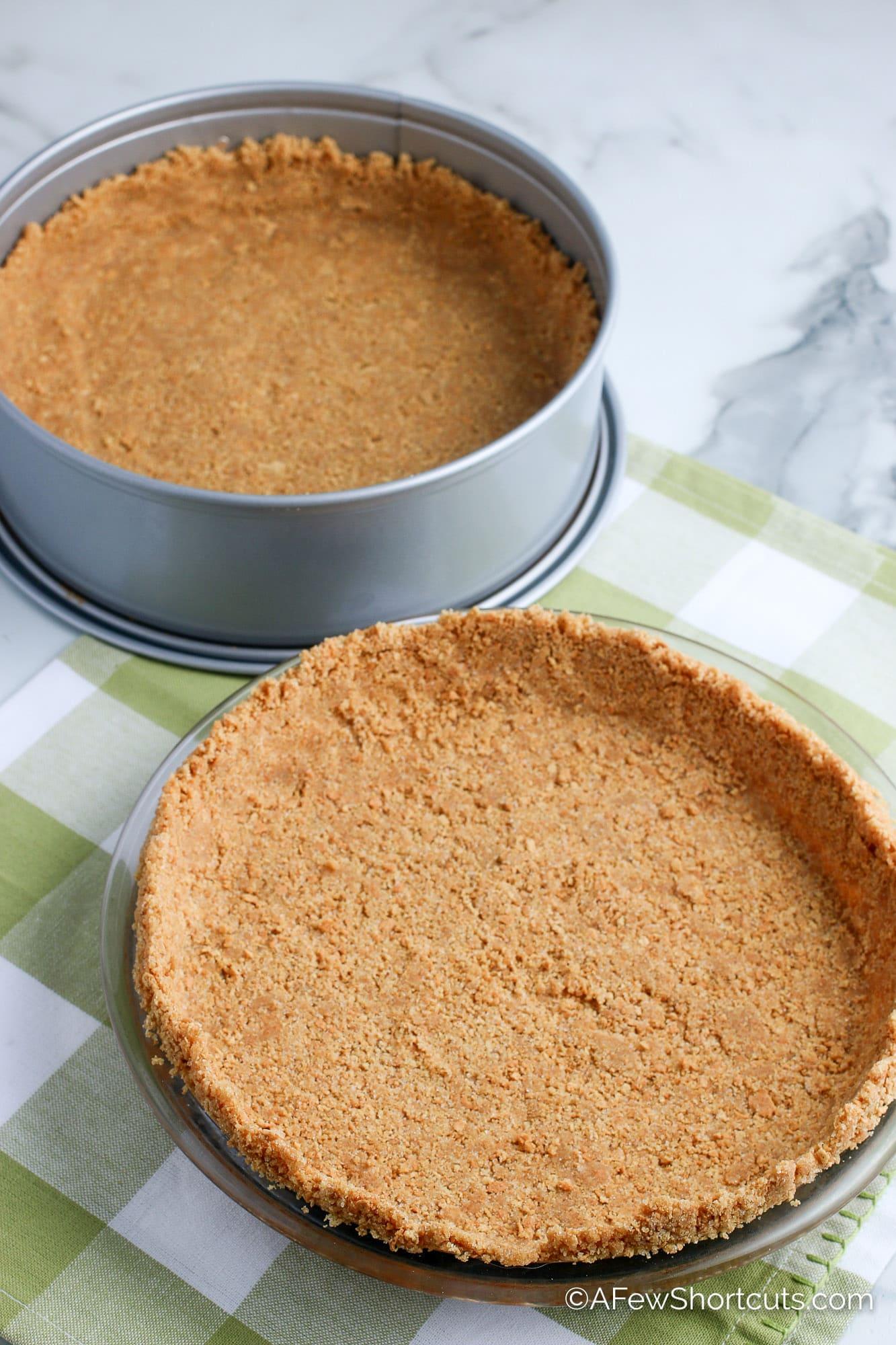 Graham Cracker Crusts in pie pan and springform pan