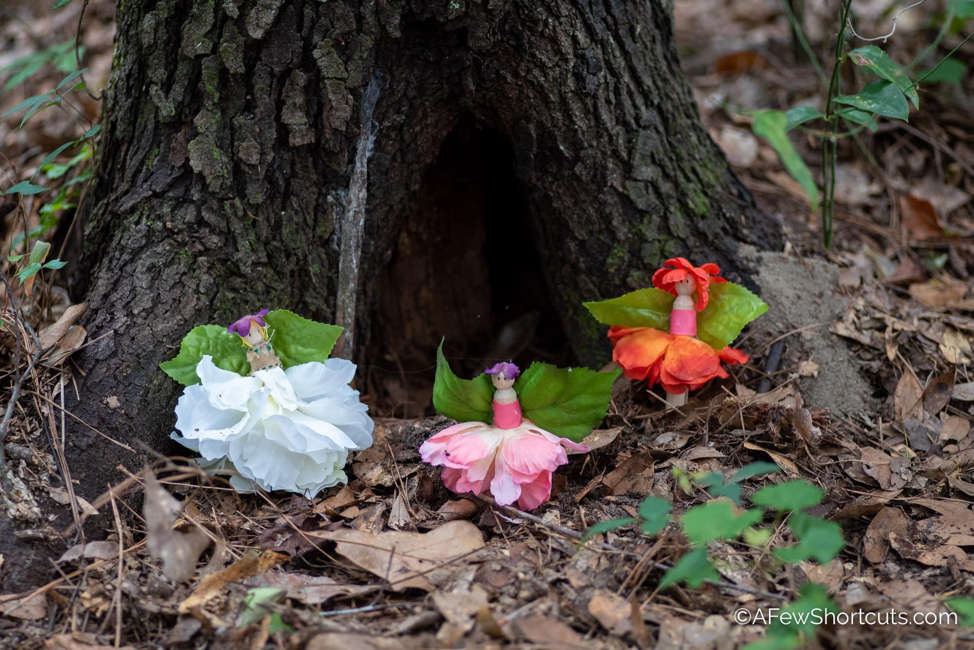 3 flower fairies by tree