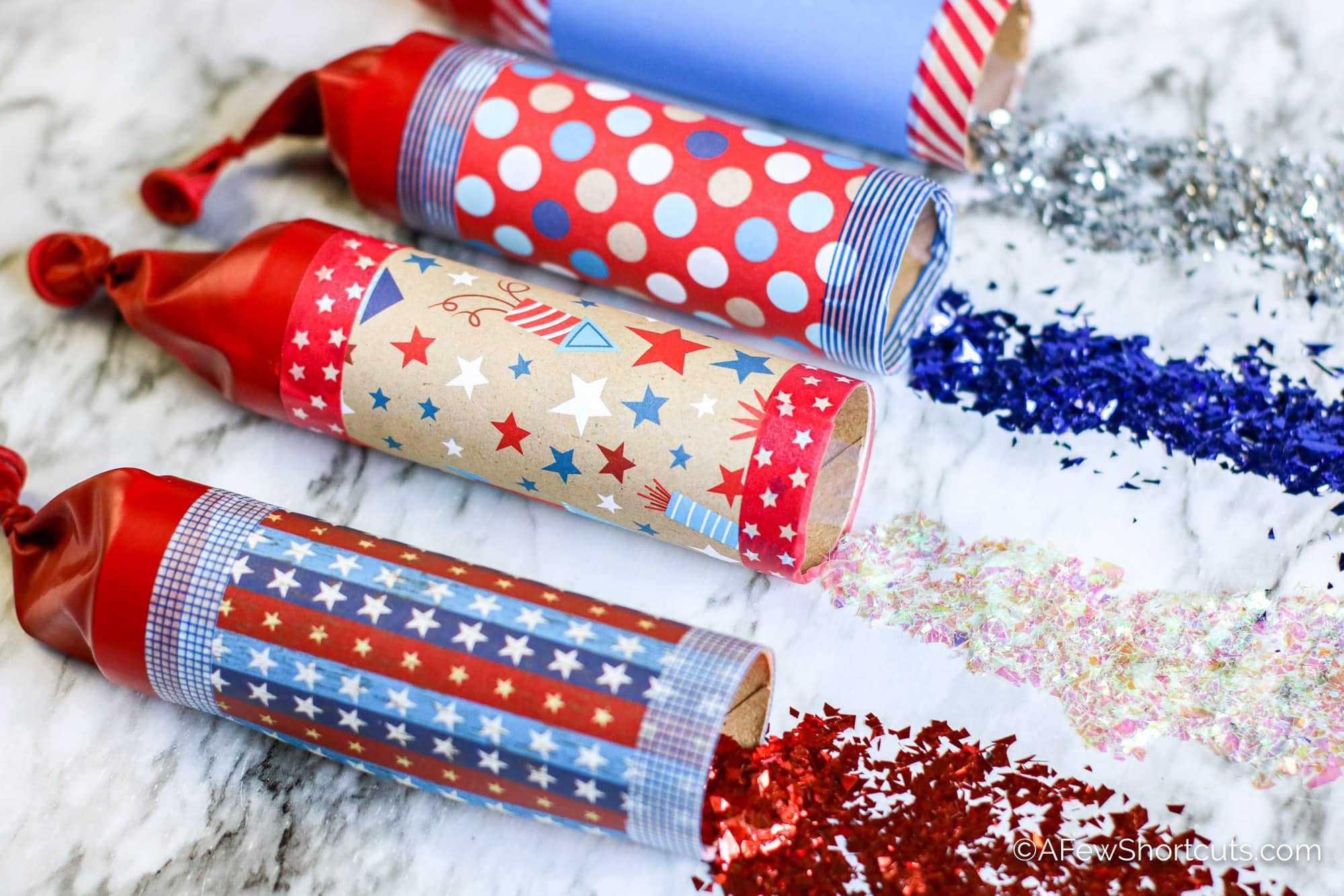 Red, White, and Blue DIY Confetti Poppers.