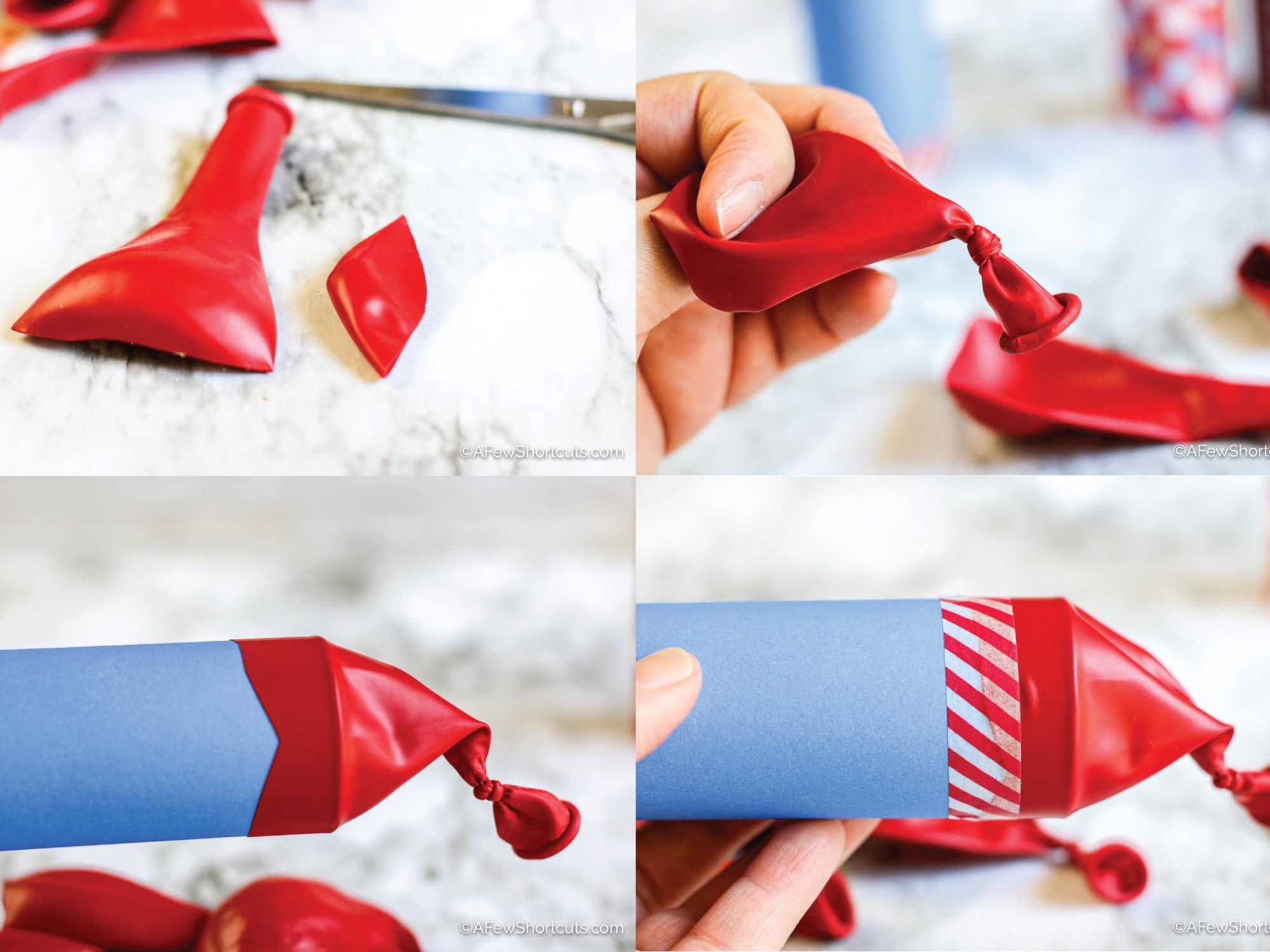 DIY Confetti Popper Steps for attaching balloon.