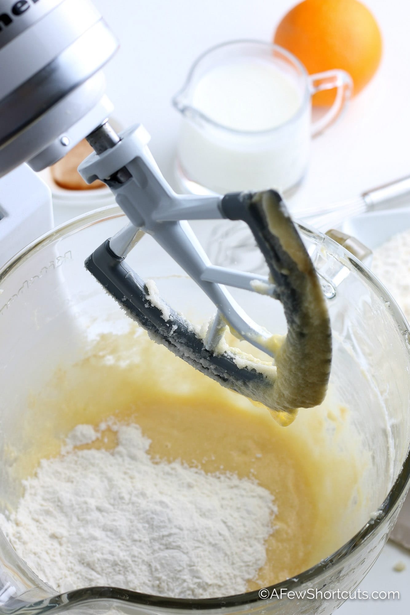 Batter in mixing bowl with flour