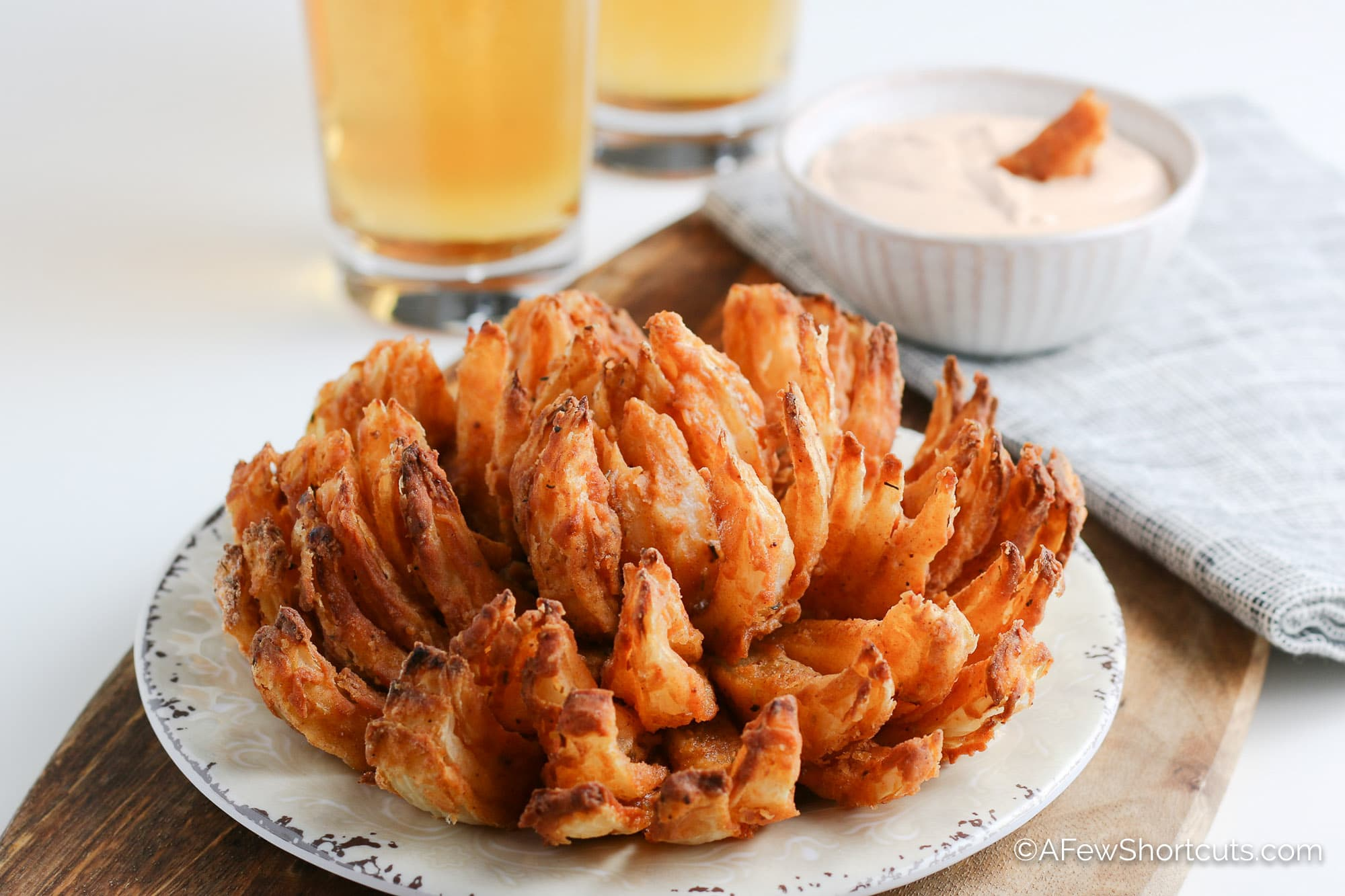 Air Fryer Blooming Onion with sauce