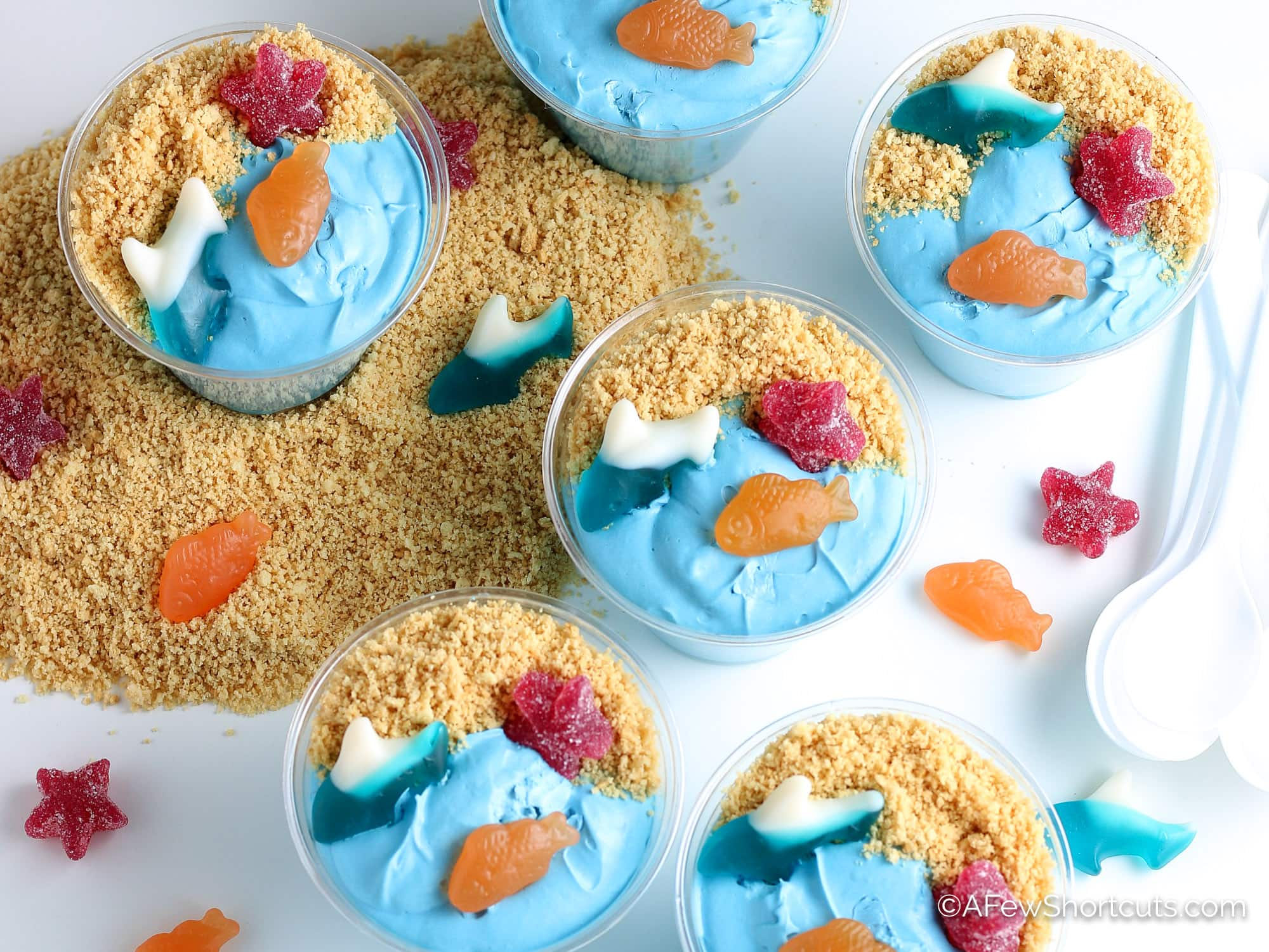 Sand Pudding Dessert Cups with Gummy fish