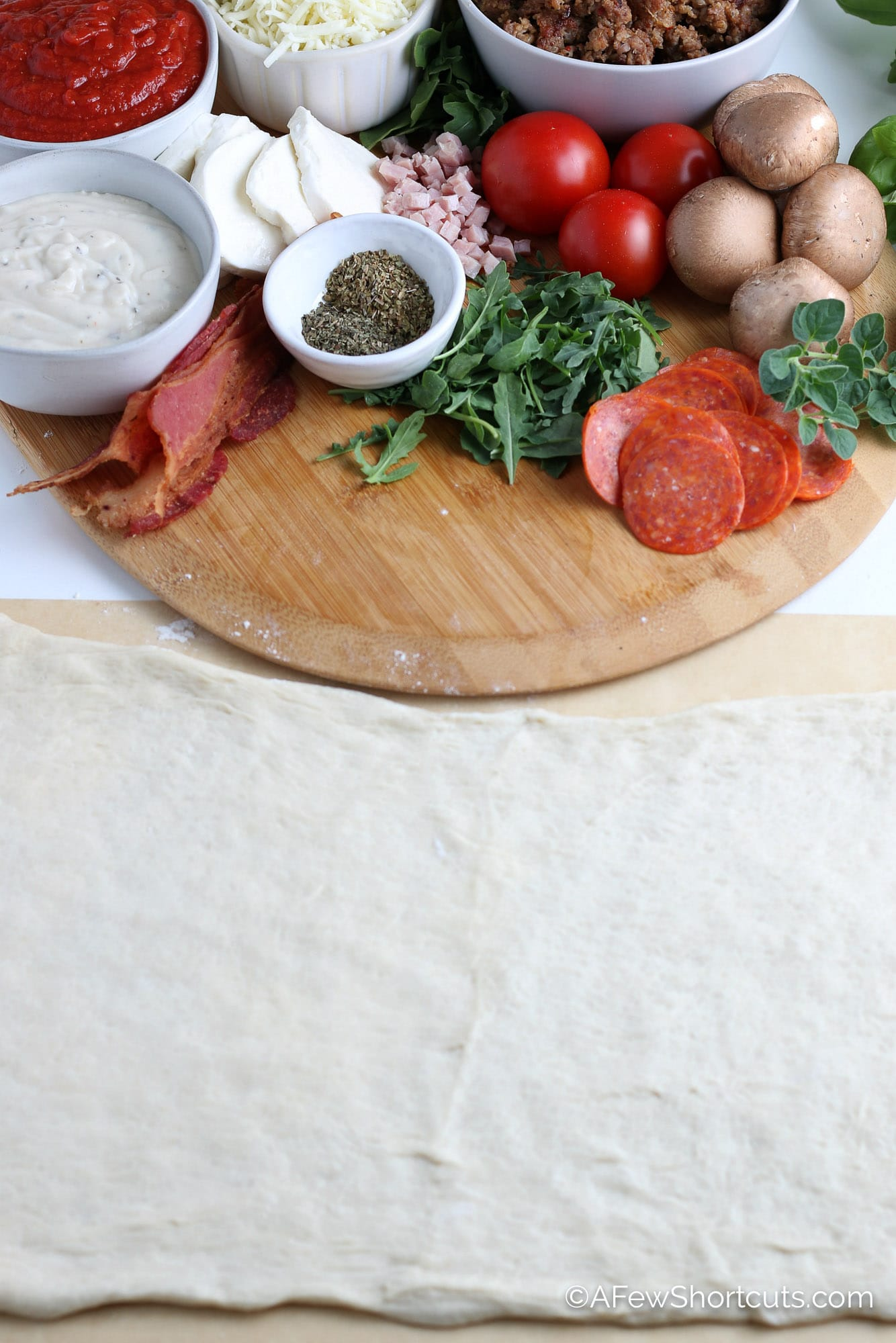 PIzza ingredients and dough