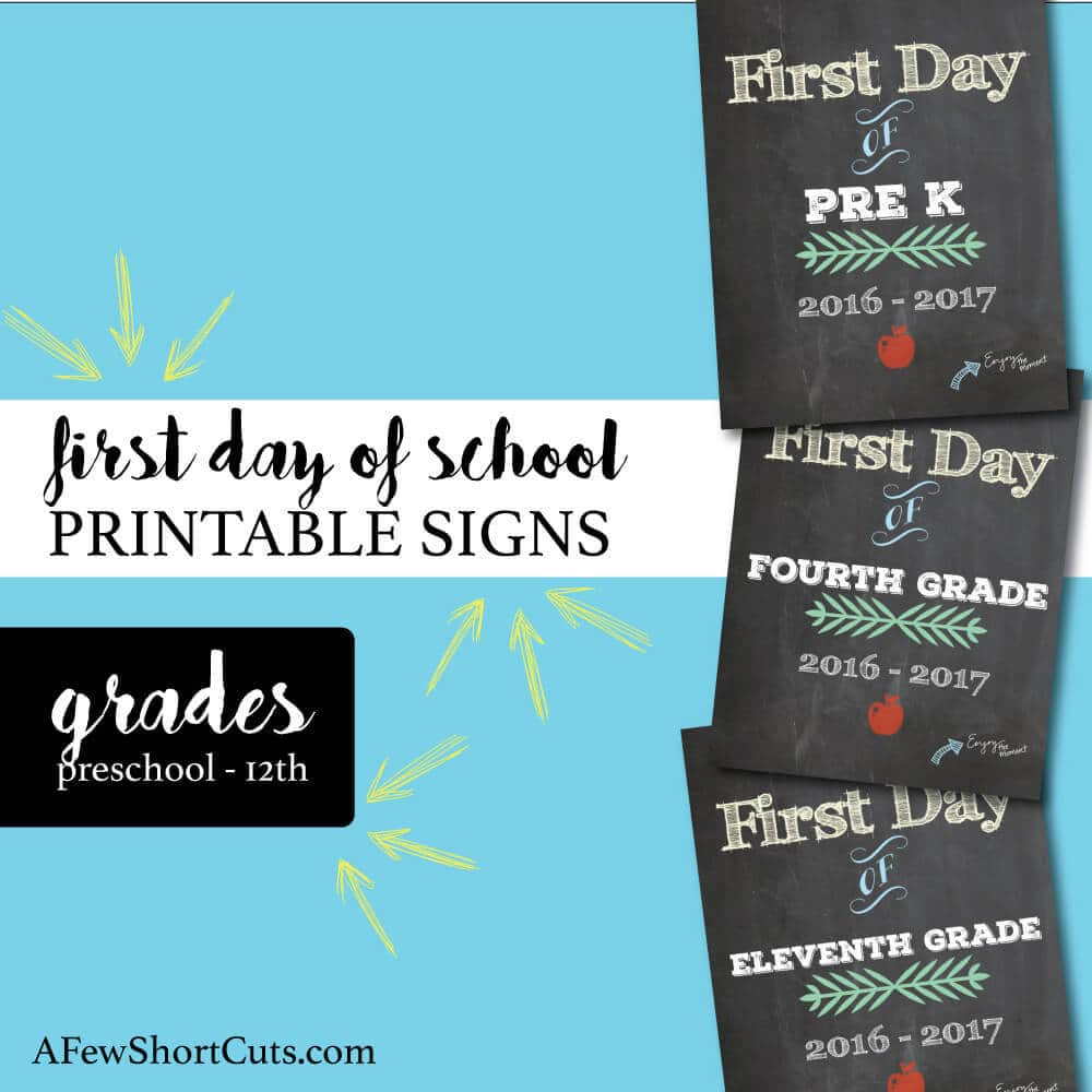 Don't miss that perfect first day of school picture! Go now and download and print these FREE First day of school printable signs for the 2016- 2017 school year!