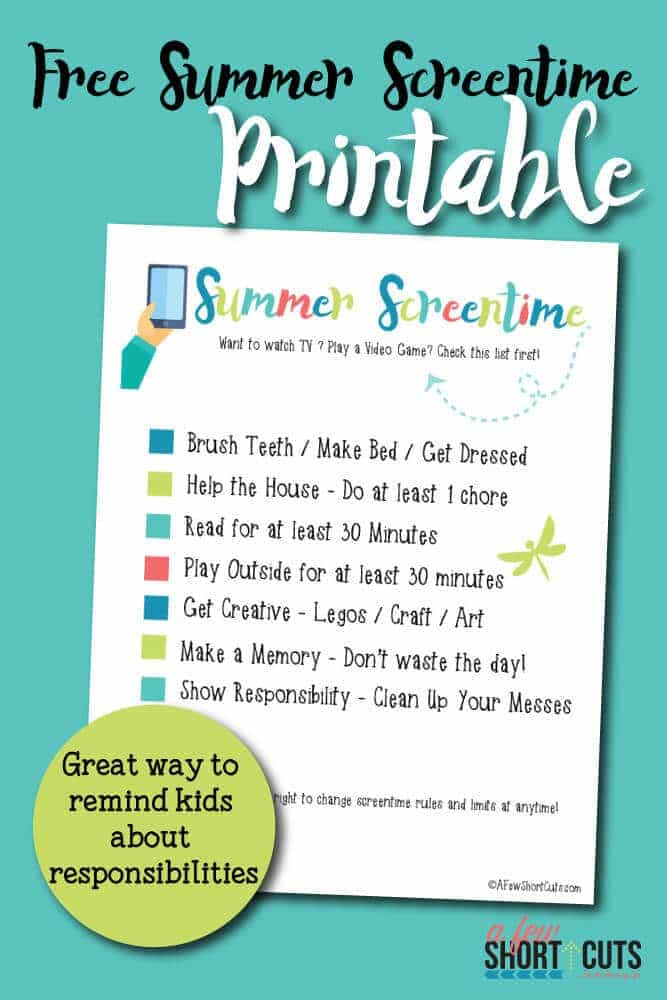 graphic regarding Screen Time Rules Printable named Cost-free Summer time Screentime Printable - A Number of Shortcuts
