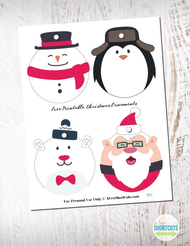 Adorable Free Printable Christmas Ornaments! Just print them, cut them out, and hang them up. Even better use them as gift tags that can become ornaments!