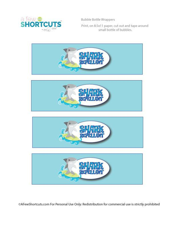 photo regarding Printable Bubbles named Shark Repellant Bubbles Printable Labels - A Couple Shortcuts