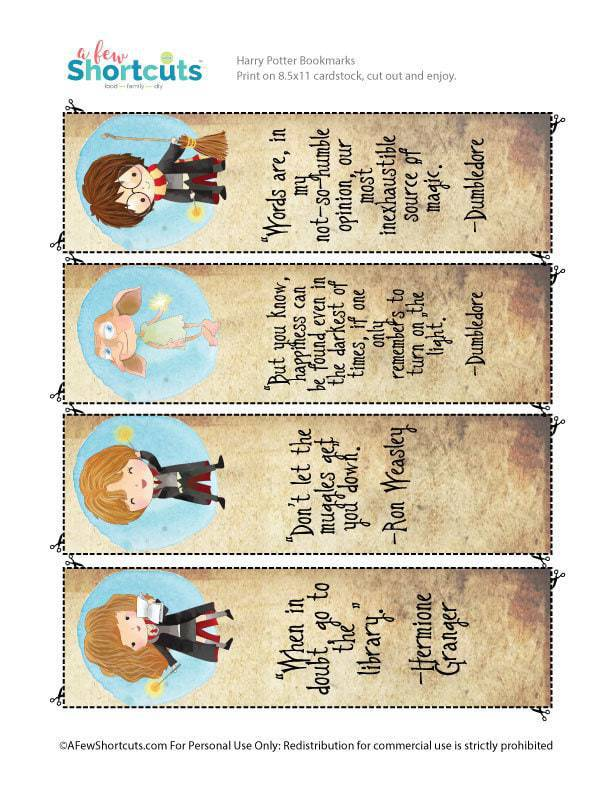 graphic regarding Harry Potter Printable Bookmarks identified as Free of charge Harry Potter Printable Bookmarks - A Couple Shortcuts