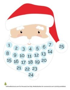 Help your kids keep track of the days until Christmas with this adorable FREE Santa Christmas Countdown Printable. Fill Santa's beard and enjoy the season!