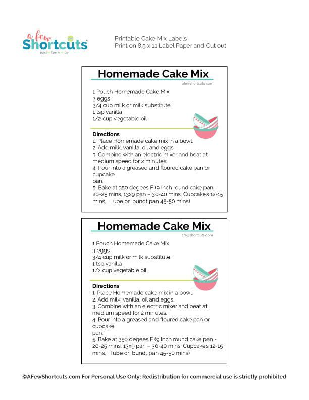 homemade cake mix labels a few shortcuts