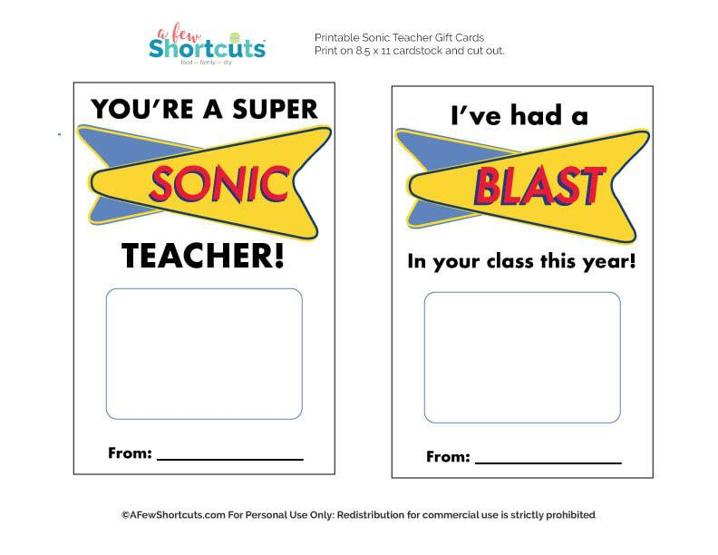 photograph regarding Sonic Gift Card Printable named SONIC Trainer Reward Printable Down load - A Handful of Shortcuts
