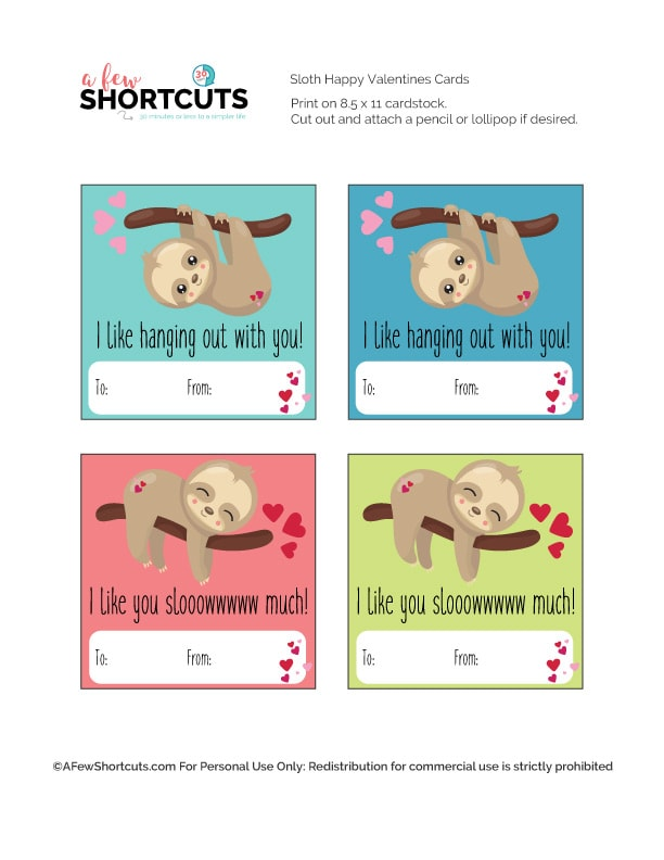 picture regarding Valentines Day Cards Printable identified as Sloth Valentines Working day Card Printable - A Couple of Shortcuts